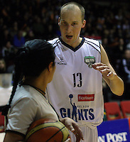 Giants guard Phill Jones questions umpire Yalla Edwards during the NBL match between the Wellington Saints and Nelson Giants at TSB Bank Arena, Wellington, New Zealand on Friday, 21 May 2010. Photo: Dave Lintott / lintottphoto.co.nz