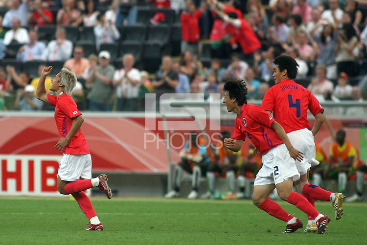 Korea Republic players celebrate their goal. Korea Republic defeated Togo 2-1 in their FIFA World Cup Group G match at the FIFA World Cup Stadium, Frankfurt, Germany, June 13, 2006.