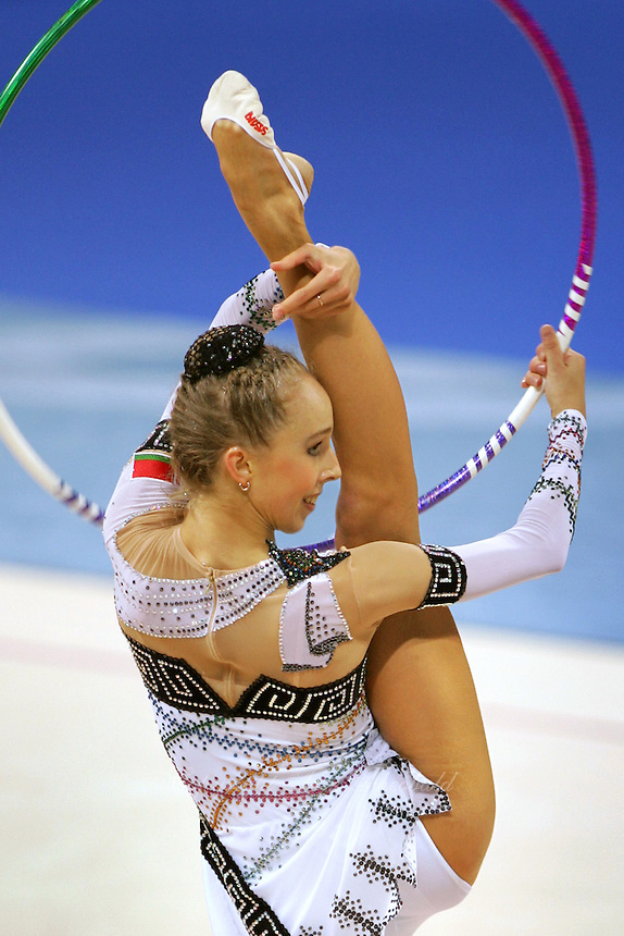 August 29, 2004; Athens, Greece; Rhythmic gymnastics star INNA ZHUKOVA of Belarus performs with hoop in All-Around competition at 2004 Athens Olympics.<br />