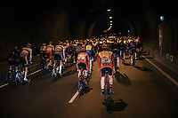 In the neutralised start section, the peloton crosses the almost 7km long Westerschelde Tunnel<br /> <br /> 106th Scheldeprijs 2018 (1.HC)<br /> 1 Day Race: Terneuzen (NED) - Schoten (BEL)(200km)