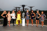 SINGAPORE - OCTOBER 18:  (L-R) Caroline Wozniacki of Denmark, Agnieszka Radwanska of Poland, Petra Kvitova of Czech Republic, Serena Williams of USA, Maria Sharapova of Russia, Ana Ivanovic of Serbia, Eugenie Bouchard of Canada and Simona Halep of Romania pose for a photo at the Gardens by the Bay during previews for the WTA Finals at Singapore Sports Hub on October 18, 2014 in Singapore.  (Photo by Julian Finney/Getty Images)