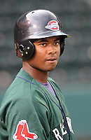 April 2, 2008: Infielder Yamaico Navarro (12) of the Greenville Drive, Class A affiliate of the Boston Red Sox, during Media Day at Fluor Field at the West End in Greenville, S.C. Photo by:  Tom Priddy/Four Seam Images