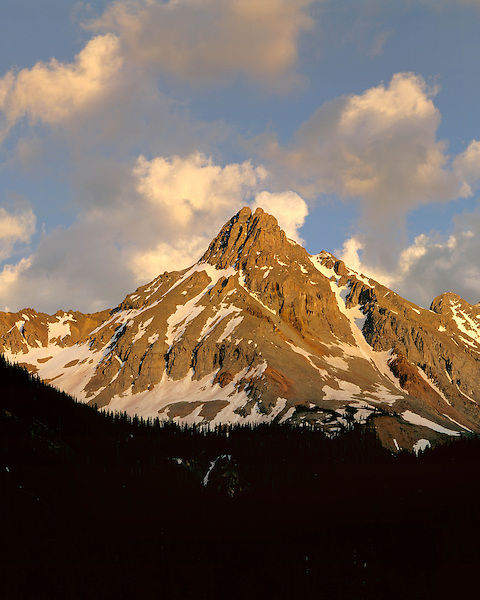 Pilot Peak at sunset in the San Juan Mountains, Telluride, Colorado, USA .  John leads wildflower photo tours into American Basin and throughout Colorado. All-year long.