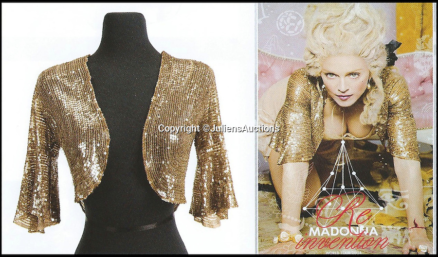 BNPS.co.uk (01202 558833)<br /> Pic: JuliensAuctions/BNPS<br /> <br /> ***Please Use Full Byline***<br /> <br /> Madonna re-invention tour poster bolero. Est: $2,000 - 3,000.<br /> <br /> A British hedge fund company is about to cash-in on a surprisingly-secure investment - Madonna.<br /> <br /> Marquee Capital was launched in 2005 looking for investors to raise a six-figure kitty to snap up celebrity memorabilia.<br /> <br /> The organisation bought more than 140 Madonna items, mostly costumes and jewellery, she wore during her movie and singing career.<br /> <br /> The goods included dozens of outfits from the 1996 hit musical Evita as well as the star's peach baseball dress and glove from her 1992 movie 'A League of Their Own' and a vest top and jeans she wore for her music video of American Pie.<br /> <br /> The sale takes place at LA-based Julien's Auctions on November 7.