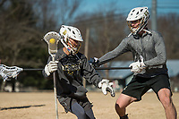 NWA Democrat-Gazette/BEN GOFF @NWABENGOFF<br /> Luke Shepard (left) and Henry Shreve, both of Bentonville, practice lacrosse Saturday, Jan. 5, 2019, at Old Tiger Stadium Park in Bentonville. The boys play for the Bentonville combined high school lacrosse team, and open their season Feb. 15.