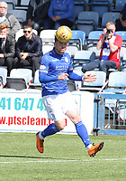 Michael Doyle heading the ball in the SPFL Ladbrokes Championship Play Off semi final match between Queen of the South and Montrose at Palmerston Park, Dumfries on  11.5.19.