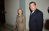 Washington, DC - March 20, 2002 -- United States Director of Homeland Security Tom Ridge, right, meets with U.S. Senator Hillary Rodham Clinton (Democrat of New York), left, in her Capitol Hill Office.  They were later joined by U.S. Senator Chuck Schumer (Democrat of New York)..Credit: Ron Sachs / CNP
