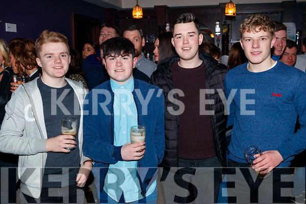 Tadhg Foran, Aidan Leahy, Darren Barrett and Ger Leen, enjoying the Causeway Beard Festival, on Saturday night last.