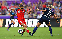 Orlando, FL - Saturday October 14, 2017: TTobin Heath, Abby Dahlkemper during the NWSL Championship match between the North Carolina Courage and the Portland Thorns FC at Orlando City Stadium.