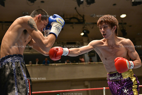 (L-R) Yuki Chinen, Ryoichi Taguchi,<br /> APRIL 3, 2013 - Boxing :<br /> Ryoichi Taguchi in action against Yuki Chinen during the second round of the vacant Japanese light flyweight title bout at Korakuen Hall in Tokyo, Japan. (Photo by Hiroaki Yamaguchi/AFLO)