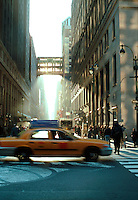 A yellow taxi in Manhattan