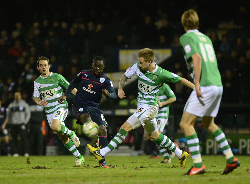 Preston North End's Jeffrey Monakana is closed down by Yeovil Town's Byron Webster ..Football - npower Football League Division One - Yeovil Town v Preston North End - Tuesday 12 th 2013 - Huish Park - Yeovil..© CameraSport - 43 Linden Ave. Countesthorpe. Leicester. England. LE8 5PG - Tel: +44 (0) 116 277 4147 - admin@camerasport.com - www.camerasport.com