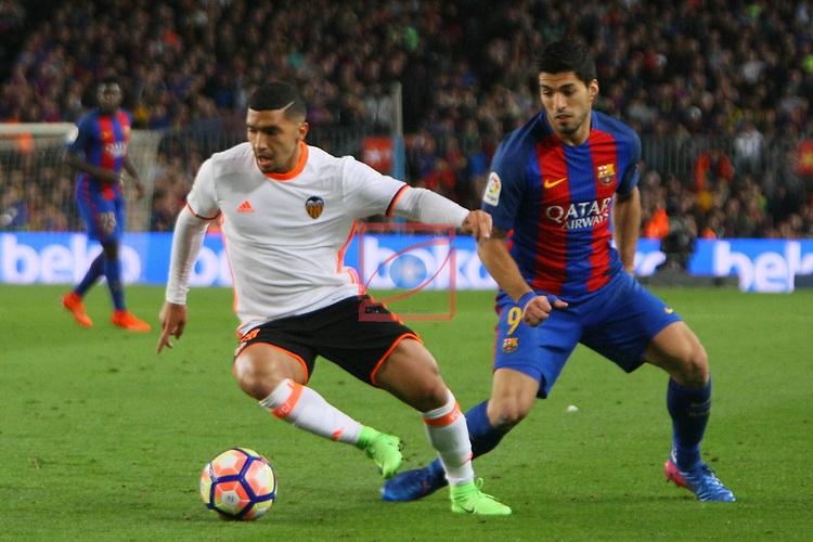 League Santander 2016/2017. Game: 28.<br /> FC Barcelona vs Valencia CF: 4-2.<br /> Luis Suarez vs Bakkali.