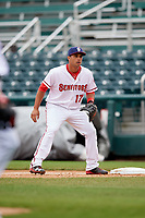 Harrisburg Senators first baseman Drew Ward (17) during the first game of a doubleheader against the New Hampshire Fisher Cats on May 13, 2018 at FNB Field in Harrisburg, Pennsylvania.  New Hampshire defeated Harrisburg 6-1.  (Mike Janes/Four Seam Images)