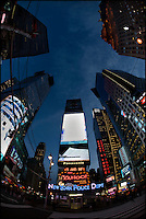 Looking up in Times Square, New York City, USA.  Taken with 16mm fisheye lens.