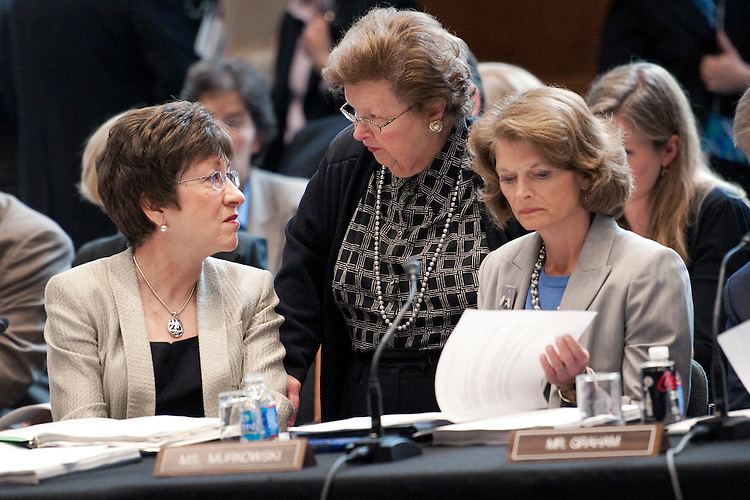 UNITED STATES - APRIL 26: Sen. Susan Collins, R-Me.; Sen. Barbara Mikulski, D-Md.; and Sen. Lisa Murkowski, R-Ak., speak at a Senate Appropriations committee markup of the FY2013 Agriculture, Rural Development, Food and Drug Administration and Related Agencies Appropriations bill. (Photo By Chris Maddaloni/CQ Roll Call)