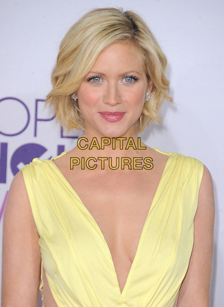 Brittany Snow.The 2013 People's Choice Awards held at Nokia Live in Los Angeles, California 9th January 2013                                                                   .headshot portrait yellow plunging neckline sleeveless.CAP/DVS.©DVS/Capital Pictures.