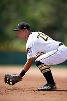 GCL Pirates first baseman Kaleb Foster (23) during a Gulf Coast League game against the GCL Red Sox on August 1, 2019 at Pirate City in Bradenton, Florida.  GCL Red Sox defeated the GCL Pirates 11-3.  (Mike Janes/Four Seam Images)