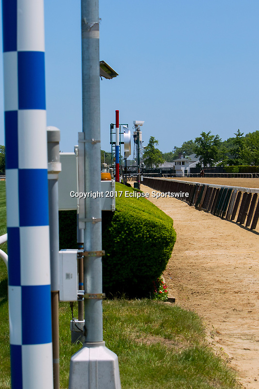 NEW YORKT, NY - JUNE 10: Secretariat pole, blue & white, shows the 31 lengths to finish line, red, white & blue, on June 10, 2017 in Elmont, New York.(Photo by Sue Kawczynski/Eclipse Sportswire/Getty Images)