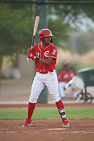 AZL Reds Debby Santana (52) at bat during an Arizona League game against the AZL Athletics Green on July 21, 2019 at the Cincinnati Reds Spring Training Complex in Goodyear, Arizona. The AZL Reds defeated the AZL Athletics Green 8-6. (Zachary Lucy/Four Seam Images)