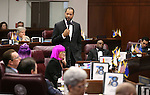Nevada Senate Minority Leader Aaron Ford, D-Las Vegas, speaks in support of a record $1.1 billion general fund tax package during Senate floor discussion at the Legislative Building in Carson City, Nev., on Monday, June 1, 2015. The Senate approved the measure 18-3. <br /> Photo by Cathleen Allison