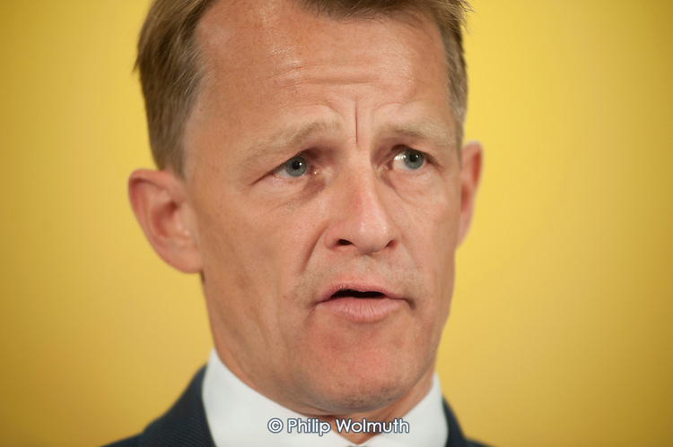 David Laws. Liberal Democrat pre-election press conference, Westminster, London.