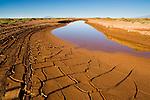 Bolivia, Altiplano, drying lagoon with mud cracks