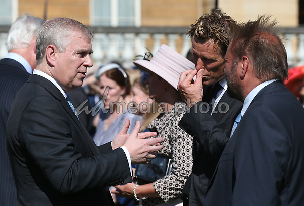 25 May 2017 - Prince Andrew Duke of York meets James Cracknell and Martin Roberts during the Royal Society for the Prevention of Accidents (RoSPA) Centenary Garden Party at Buckingham Palace, London. Photo Credit: ALPR/AdMedia
