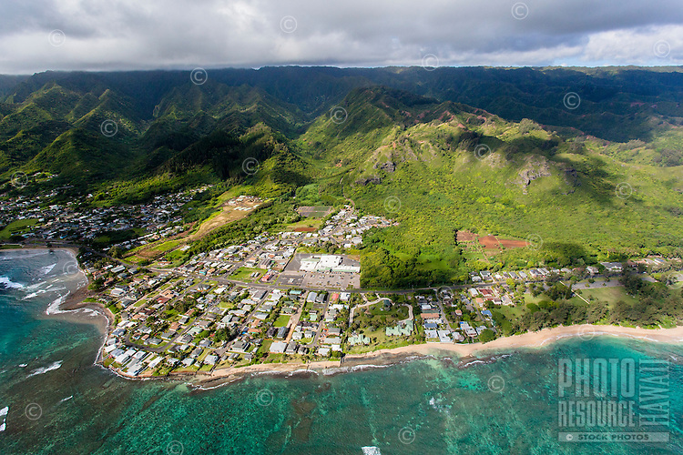 A helicopter tour offers an aerial view of Hau'ula, O'ahu.