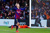 30th January 2019, Camp Nou, Barcelona, Spain; Copa del Rey football, quarter final, second leg, Barcelona versus Sevilla; Philippe Coutinho of FC Barcelona scores his side's 3rd goal in minute 52