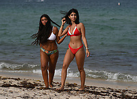 FORT LAUDERDALE, FL - JUNE 28: Two young ladies are seen during a photo shoot on Fort Lauderdale Beach as South Florida beaches are to close for July Fourth weekend, Florida reports another record spike in coronavirus cases, Florida's Covid-19 surge shows the state's reopening plan is not working on June 28, 2020 in Fort Lauderdale Beach, Florida. Credit: mpi04/MediaPunch