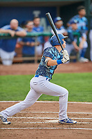 Dillon Paulson (14) of the Ogden Raptors bats against the Billings Mustangs at Lindquist Field on August 17, 2018 in Ogden, Utah. Billings defeated Ogden 6-3. (Stephen Smith/Four Seam Images)