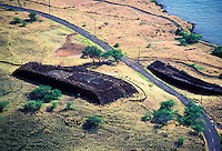 The historic war heiau of King Kamehameha, named Puukohola near Kawaihae on the Big Island of Hawaii. Built in 1790-91, the heiau or temple, is a national historic site and sacred to the native Hawaiian people.