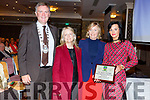 Mary Lucey (Principal) and Mary Kirby (Art teacher) of the KCFE received a Special Award for their work with the Tralee Tidy Towns from Graham Spring (Mayor of Tralee) and Jean Foley (KCC) at the Tralee Tidy Towns awards in the Rose Hotel on Tuesday night.