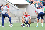 19 August 2014: Head coach Jill Ellis (left) with assistants Tony Gustafsson (SWE) (center) and Damon Nahas (right). The United States Women's National Team held a public training session at WakeMed Stadium in Cary, North Carolina.