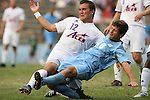 06 September 2009: UNC's Enzo Martinez (16) and Evansville's Justin Sass (12). The University of North Carolina Tar Heels defeated the Evansville University Purple Aces 4-0 at Fetzer Field in Chapel Hill, North Carolina in an NCAA Division I Men's college soccer game.