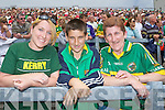 Deirdre Mulvihill, Roy Mason, Ann Mason, Ballydonoghue Kerry fans at the Munster Senior Football Final in Fitzgerald Stadium in Killarney on Sunday.