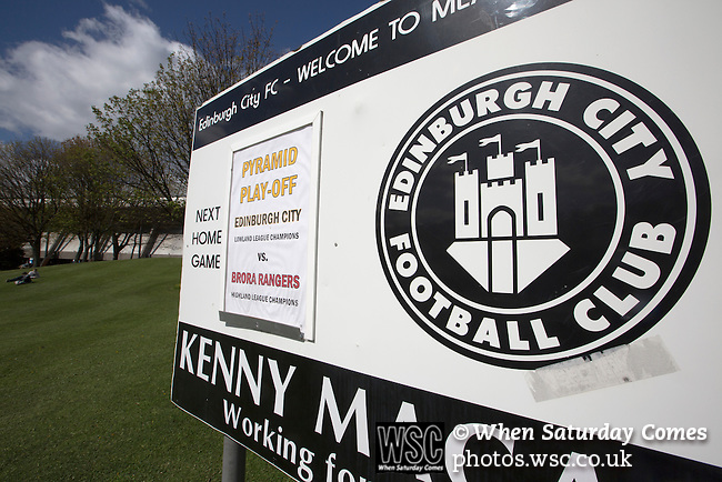 Edinburgh City 1 Brora Rangers 1, 25/04/2015. Commonwealth Stadium, Pyramid play-off 1st leg. A sign advertising the Scottish League pyramid play-off match between Edinburgh City and Brora Rangers at the Commonwealth Stadium, Meadowbank. Lowland League champions Edinburgh City and Highland League champions Brora both progressed to a play-off to decide whether there would be a club promoted to the Scottish League for the first time in its history. The match ended in a 1-1 draw, the second leg was held the following week in Brora. Photo by Colin McPherson.