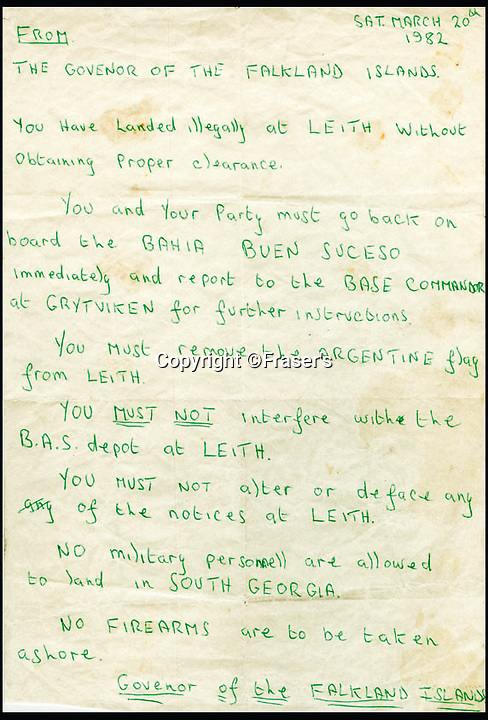 BNPS.co.uk (01202 558833)<br /> Pic: Fraser's/BNPS<br /> <br /> This warning note that sparked the countdown to the Falklands War is on sale for a staggering &pound;24,000.<br /> <br /> It captures the moment the governor of the British Protectorate Sir Rex Hunt demanded Argentinian troops leave the remote Atlantic island of South Georgia.  <br /> <br /> Little did he know weeks later the islands would erupt in bloody fighting and 255 British troops would be dead.