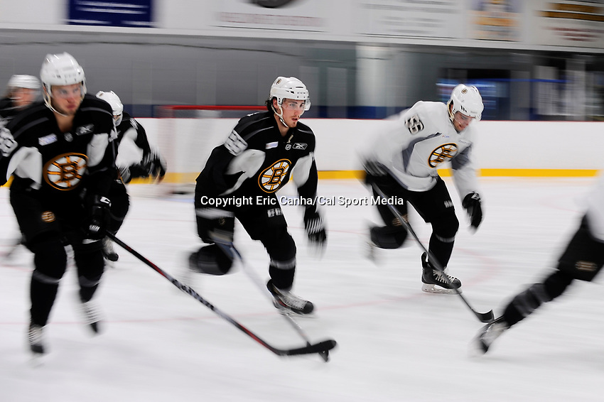 July 14, 2015 - Wilmington, Massachusetts, U.S. - Defenseman Mark Hamilton (85) (center) takes part in the Boston Bruins development camp held at Ristuccia Arena in Wilmington Massachusetts. Eric Canha/CSM