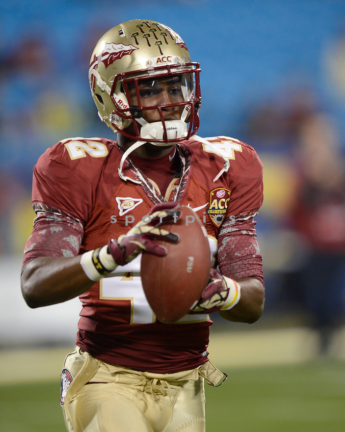 Florida State Seminoles Lamarcus Brutus (42) in action during the 2012 ACC Championship game against Georgia Tech on December 1, 2012 at Bank of America Stadium in Charlotte, NC. Florida State beat Georgia Tech 21-15.