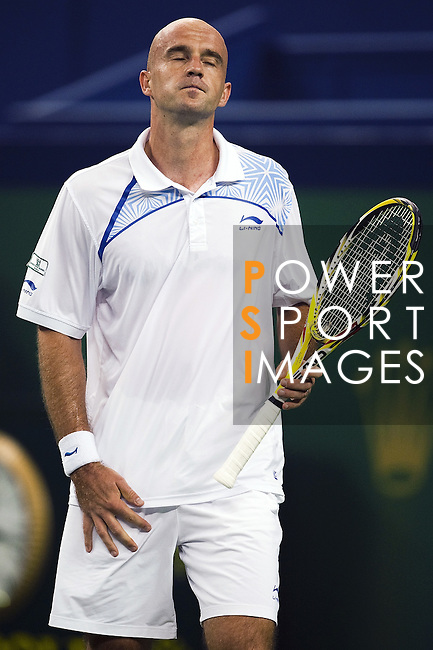SHANGHAI, CHINA - OCTOBER 16:  Ivan Ljubicic of Croatia reacts to a lose point to Rafael Nadal of Spain during day six of 2009 Shanghai ATP Masters 1000 at Qi Zhong Tennis Centre on October 16, 2009 in Shanghai, China. Photo by Victor Fraile / The Power of Sport Images
