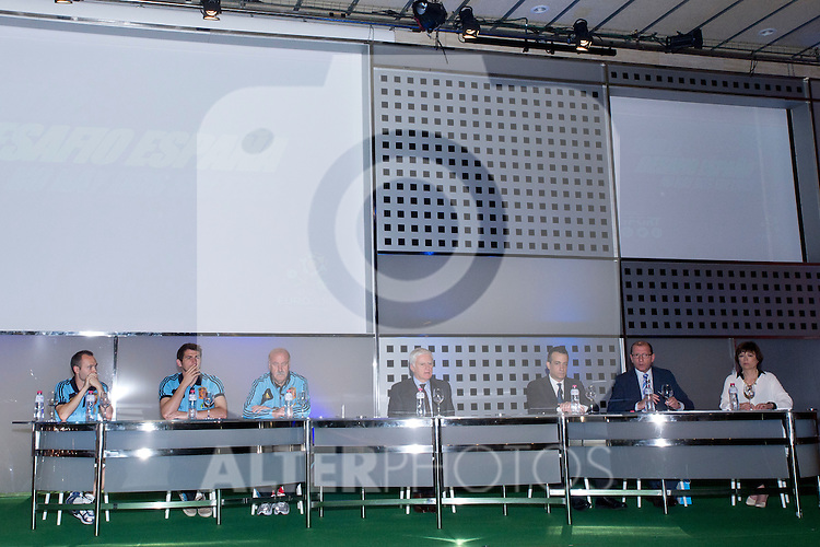 01.06.2012. Telecinco presents its official schedule for the transmission of Eurocup 2012 to the Ciudad del Futbol of Las Rozas, Madrid. In the image Andrés Iniesta, Iker Casillas,  Vicente del Bosque and Telecinco technical team (Alterphotos/Marta Gonzalez)