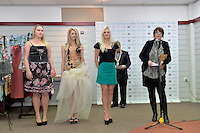 from left, Katie Rex, Allie O' Reagan, Kendell Baker and Denise Anglesey, New Zealand Eco Fashion Exposed Opening Function at 151 High Street, Lower Hutt, New Zealand on Wednesday 23 July 2014. <br /> Photo by Masanori Udagawa. <br /> www.photowellington.photoshelter.com.