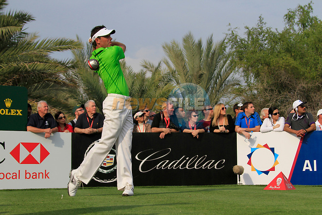 Charl Schwartzel tees off on the 14th tee during Day 3 Saturday of the Abu Dhabi HSBC Golf Championship, 22nd January 2011..(Picture Eoin Clarke/www.golffile.ie)