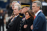 Former US President George W Bush and members of the Bush family watch as a joint service honor guard carries the casket of former US President George H.W. Bush out of the  US Capitol in Washington, DC, USA, 05 December 2018. George H.W. Bush, the 41st President of the United States (1989-1993), died at the age of 94 on 30 November 2018 at his home in Texas.<br /> Credit: Shawn Thew / Pool via CNP / MediaPunch