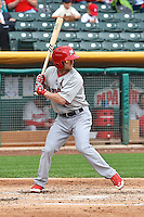 Shane Robinson (19) of the Memphis Redbirds at bat against the Salt Lake Bees at Smith's Ballpark on June 18, 2014 in Salt Lake City, Utah.  (Stephen Smith/Four Seam Images)