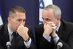 "Israeli Minister of Environmental Protection, MK Gilad Erdan (L), speaks with Israel's Finance Minister, MK Yuval Steinitz (R) during a joint press conference they held at the finance Ministry in Jerusalem, Monday, June 8, 2009. Erdan and Steinitz announced the new governmental ""Green Tax"" policy, by which incentives will be given for the purchase of a hybrid or electric car, and penalties to owners of vehicles deemed ""environmentally unfriendly. Photo By: Emil Salman / JINI."