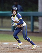 Michigan Wolverines Softball outfielder Lyndsay Doyle (11) leads off first during a game against the University of South Florida Bulls on February 8, 2014 at the USF Softball Stadium in Tampa, Florida.  Michigan defeated USF 3-2.  (Copyright Mike Janes Photography)
