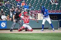 Ed Easley (4) of the Memphis Redbirds on defense against the Omaha Storm Chasers in Pacific Coast League action at Werner Park on April 22, 2015 in Papillion, Nebraska.  (Stephen Smith/Four Seam Images)